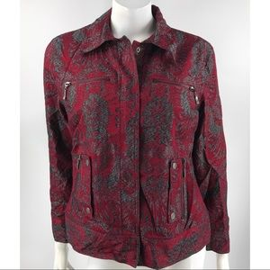Chico's Red & Silver Cotton Blend Lined Jacket
